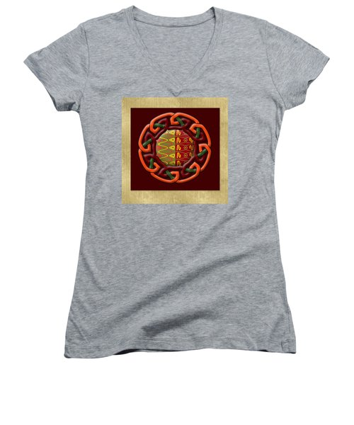 Tribal Celt Earthiness Women's V-Neck T-Shirt (Junior Cut) by Kandy Hurley