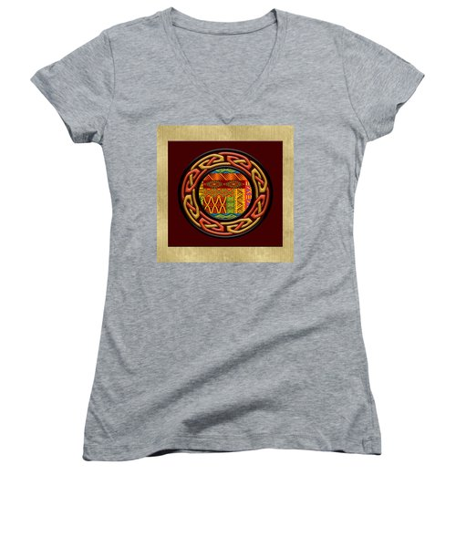 Tribal Celt Nsomba Women's V-Neck T-Shirt (Junior Cut) by Kandy Hurley
