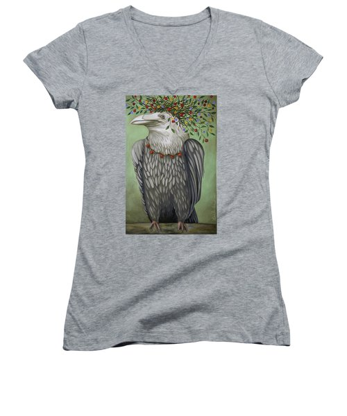 Women's V-Neck T-Shirt (Junior Cut) featuring the painting Tribal Nature by Leah Saulnier The Painting Maniac