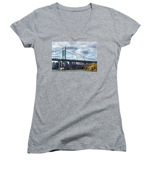 Triboro Bridge In Autumn Women's V-Neck (Athletic Fit)