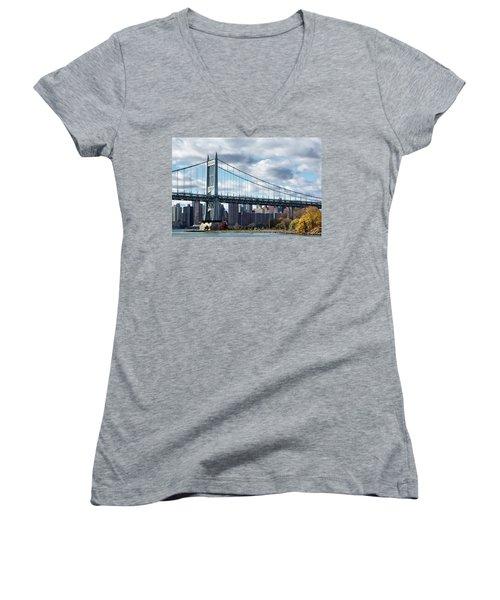 Triboro Bridge In Autumn Women's V-Neck (Athletic Fit)