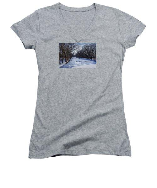 Tributary Women's V-Neck T-Shirt (Junior Cut) by John Gilbert