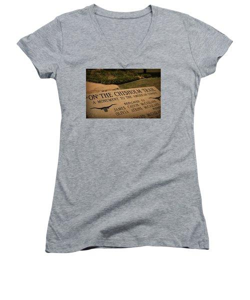 Tribute To The Cowboy Women's V-Neck T-Shirt (Junior Cut) by Toni Hopper