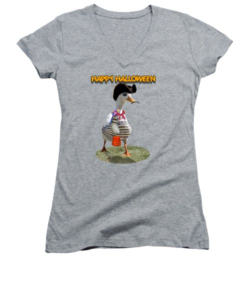 Trick Or Treat For Cap'n Duck Women's V-Neck T-Shirt