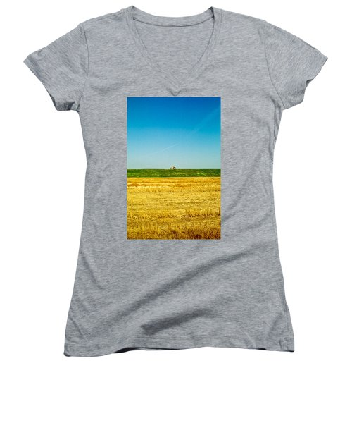 Tricolor With Tractor Women's V-Neck (Athletic Fit)
