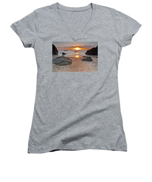 Trinidad State Beach Sunset Women's V-Neck (Athletic Fit)