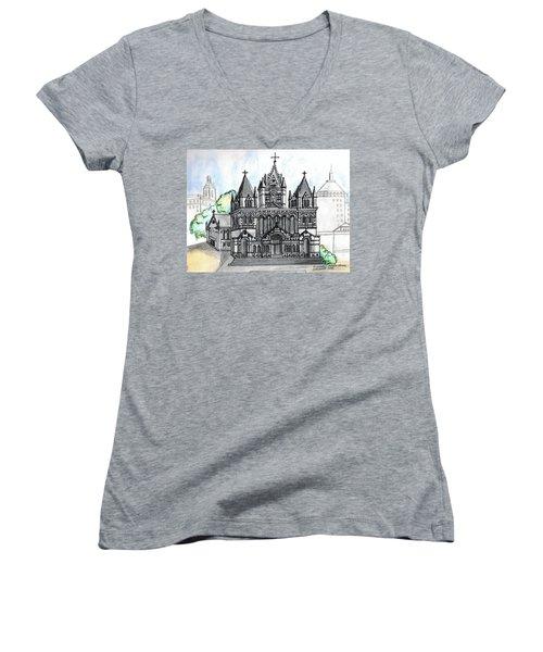 Trinity Church Boston Women's V-Neck T-Shirt (Junior Cut) by Paul Meinerth
