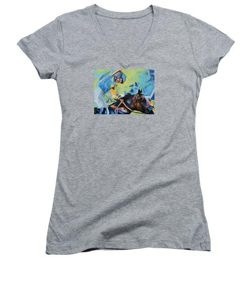 Triple Crown Champion American Pharoah Women's V-Neck T-Shirt (Junior Cut) by Donna Tuten