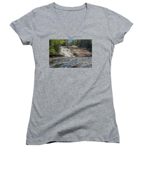 Triple Falls Second Tier Women's V-Neck T-Shirt (Junior Cut) by Steven Richardson