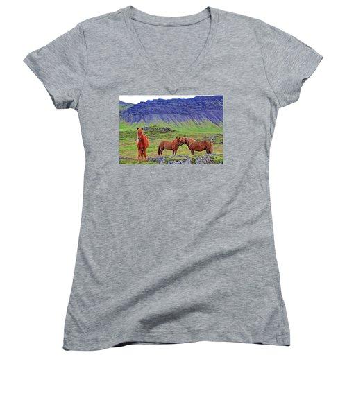 Women's V-Neck T-Shirt (Junior Cut) featuring the photograph Triple Horses by Scott Mahon