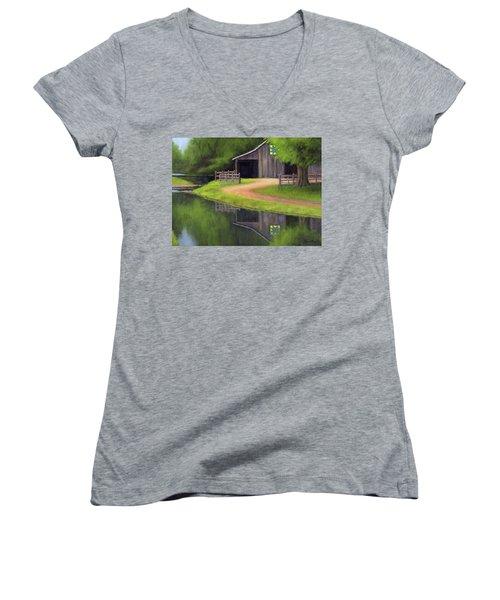 Triple L Ranch  Women's V-Neck T-Shirt (Junior Cut) by Janet King