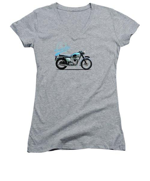 Triumph Bonneville 1961 Women's V-Neck T-Shirt (Junior Cut) by Mark Rogan