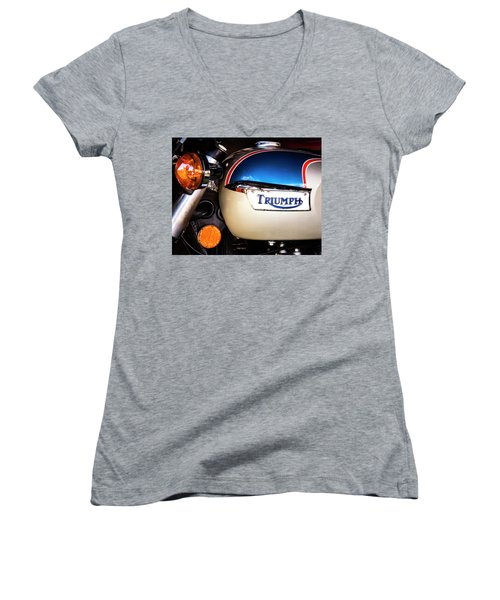 Triumph Motorcyle Women's V-Neck T-Shirt (Junior Cut) by Andy Crawford