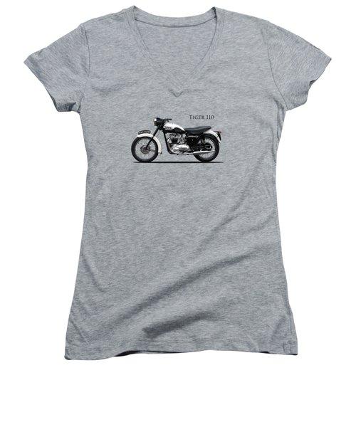 Triumph Tiger 1959 Women's V-Neck T-Shirt (Junior Cut) by Mark Rogan
