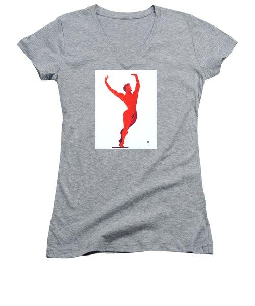 Triumphant Balance Women's V-Neck T-Shirt (Junior Cut) by Shungaboy X