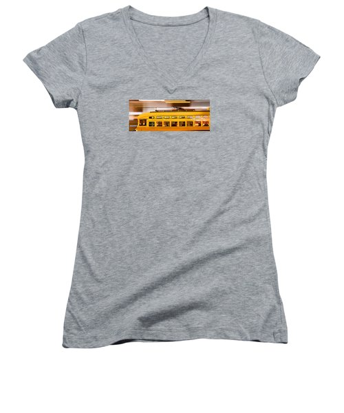 Women's V-Neck T-Shirt (Junior Cut) featuring the photograph Trolley 1052 On The Move by Steve Siri