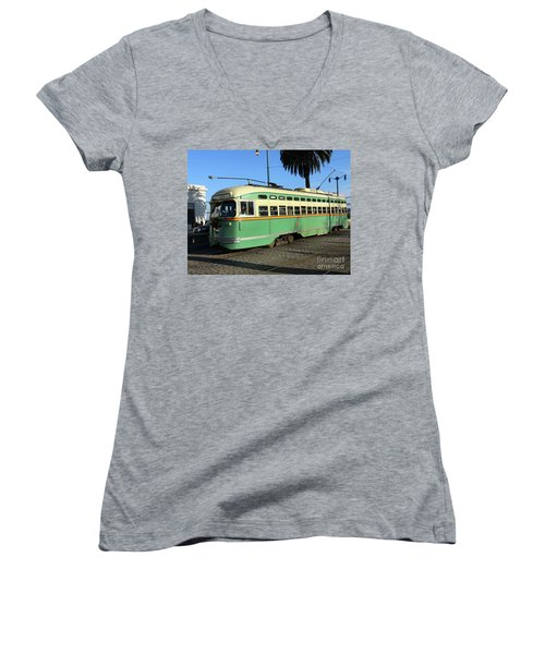 Women's V-Neck T-Shirt (Junior Cut) featuring the photograph Trolley Number 1058 by Steven Spak