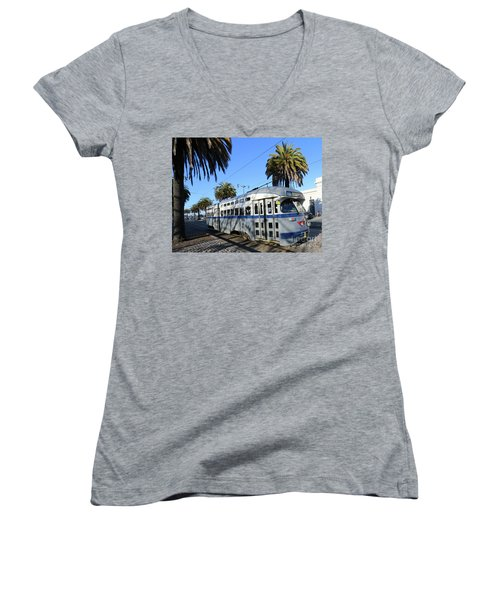 Women's V-Neck T-Shirt (Junior Cut) featuring the photograph Trolley Number 1070 by Steven Spak