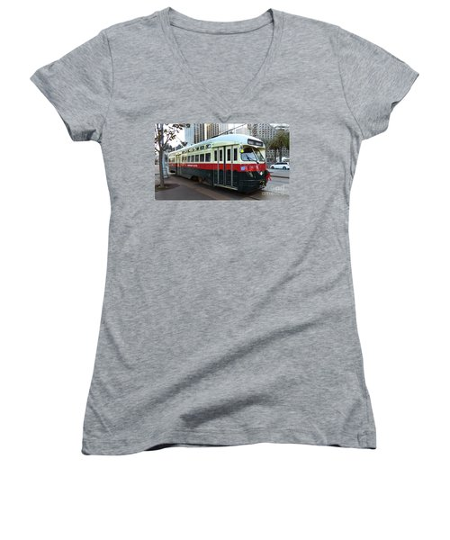 Women's V-Neck T-Shirt (Junior Cut) featuring the photograph Trolley Number 1077 by Steven Spak