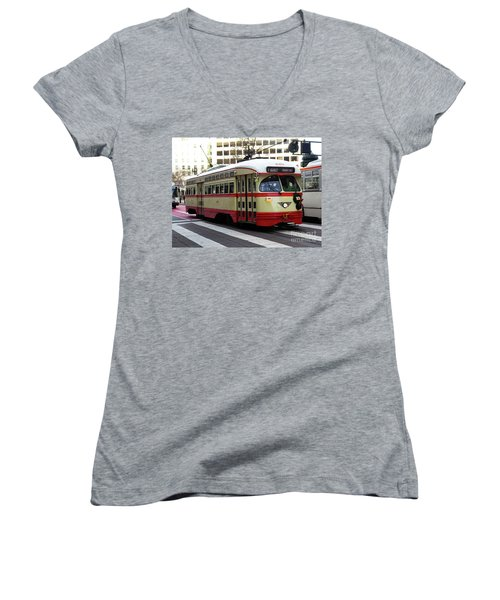 Women's V-Neck T-Shirt (Junior Cut) featuring the photograph Trolley Number 1079 by Steven Spak