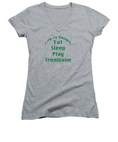 Trombone Eat Sleep Play Trombone 5517.02 Women's V-Neck T-Shirt (Junior Cut) by M K  Miller