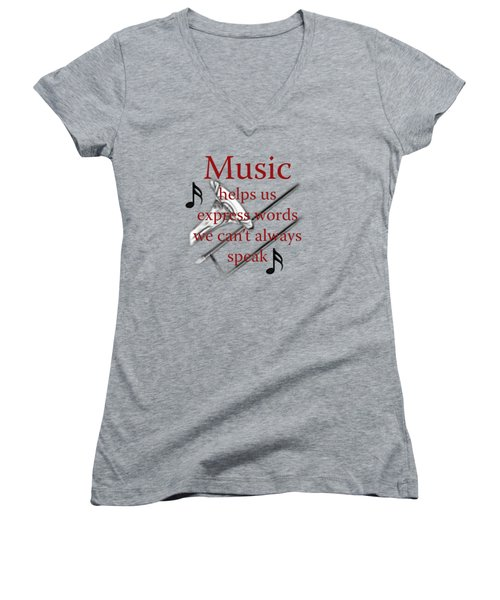 Trombone Music Expresses Words Women's V-Neck T-Shirt (Junior Cut) by M K  Miller