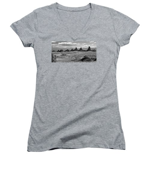 Trona Pinnacles Peaks Women's V-Neck T-Shirt (Junior Cut) by Marius Sipa