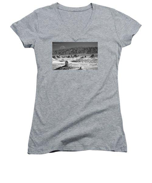 Trona Pinnacles With The Moon Women's V-Neck T-Shirt (Junior Cut) by Marius Sipa