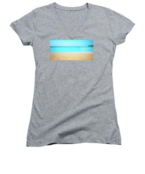 Tropical Art - Turquoise Sand Beach Lagoon Photography Women's V-Neck T-Shirt (Junior Cut) by Modern Art Prints