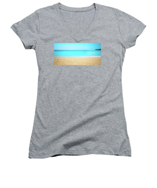 Tropical Art - Turquoise Sand Beach Lagoon Photography Women's V-Neck