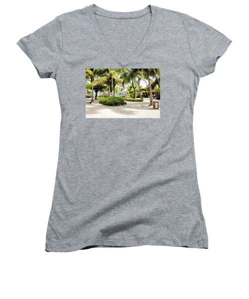 Women's V-Neck T-Shirt (Junior Cut) featuring the photograph Tropical Courtyard by Lawrence Burry