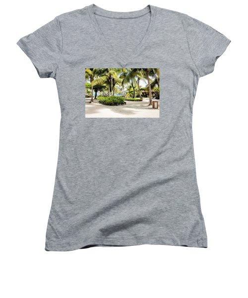 Tropical Courtyard Women's V-Neck T-Shirt (Junior Cut)