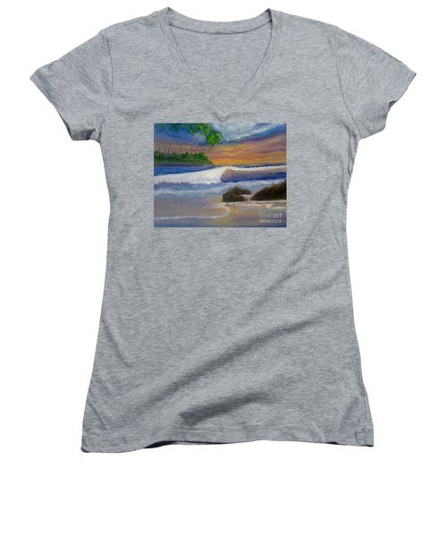 Tropical Dream Women's V-Neck T-Shirt (Junior Cut) by Holly Martinson