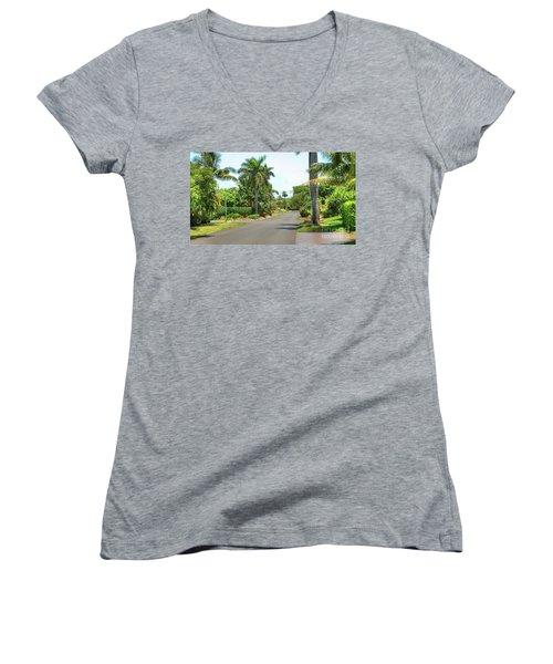 Tropical Feel Residential Street Women's V-Neck T-Shirt