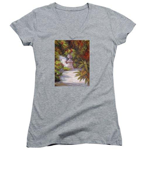 Tropical Garden Women's V-Neck T-Shirt (Junior Cut) by Vivien Rhyan