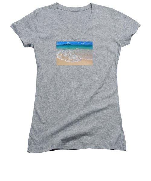 Women's V-Neck T-Shirt (Junior Cut) featuring the photograph Tropical Hawaiian Shore by Kerri Ligatich