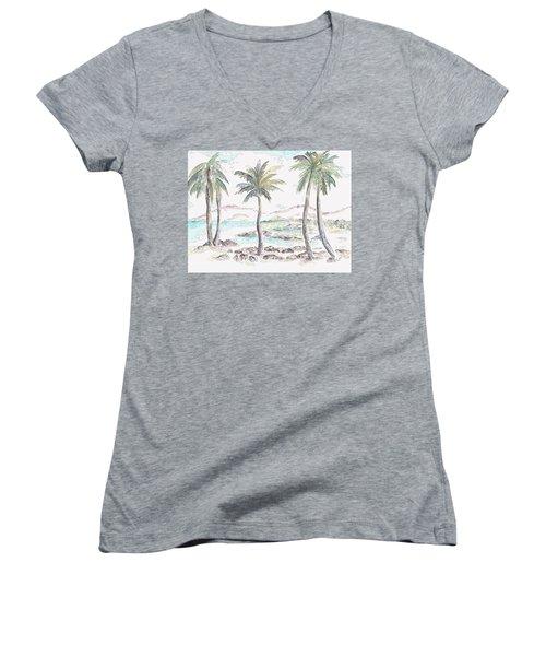 Women's V-Neck T-Shirt featuring the digital art Tropical Island by Elizabeth Lock