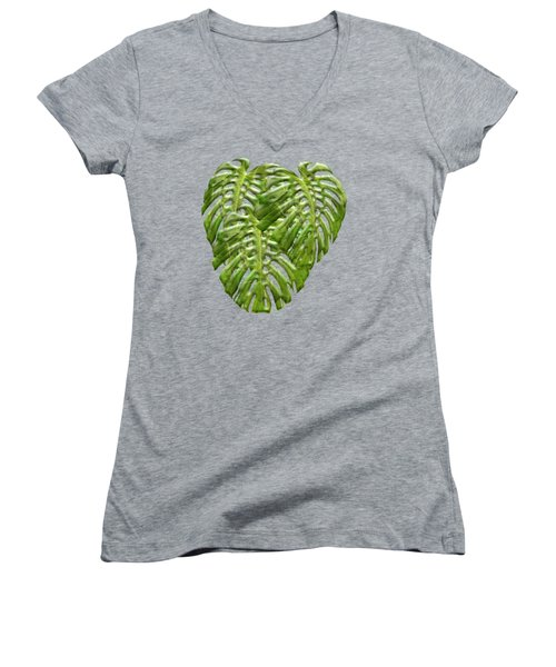 Tropical Jungle Greens Women's V-Neck (Athletic Fit)