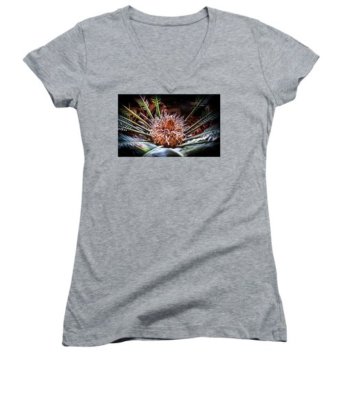 Tropical Moments Women's V-Neck T-Shirt (Junior Cut) by Karen Wiles