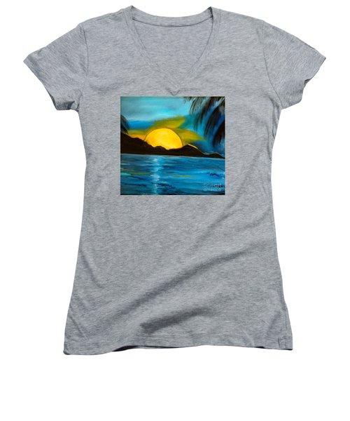 Tropical Moonshine Women's V-Neck T-Shirt (Junior Cut) by Jenny Lee