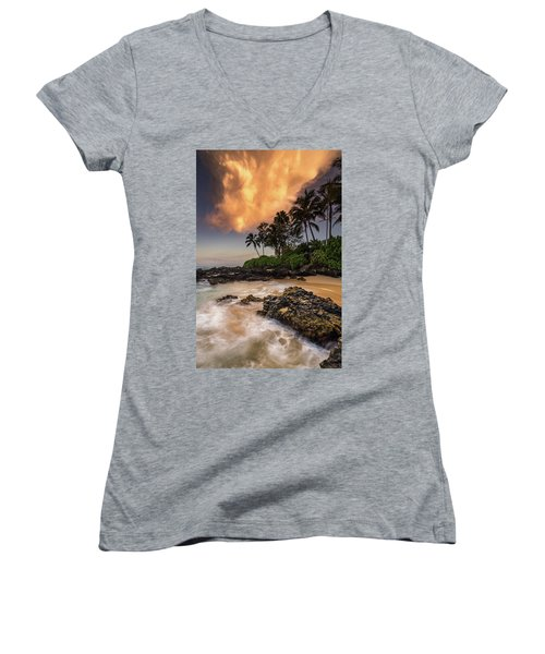 Women's V-Neck T-Shirt (Junior Cut) featuring the photograph Tropical Nuclear Sunrise by Pierre Leclerc Photography
