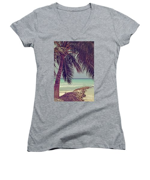 Tropical Ocean View Women's V-Neck (Athletic Fit)