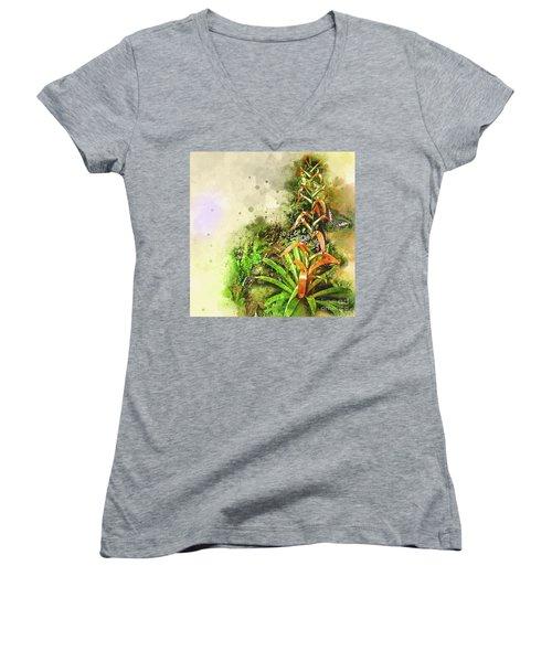 Tropical Orange Women's V-Neck T-Shirt (Junior Cut) by Deborah Nakano