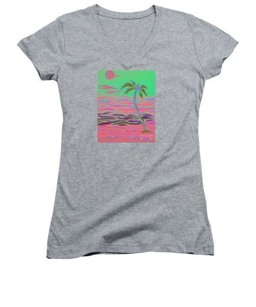 Hot Pink Coconut Palm Women's V-Neck (Athletic Fit)