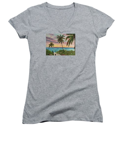 Tropical Paradise Women's V-Neck T-Shirt (Junior Cut) by Lloyd Dobson