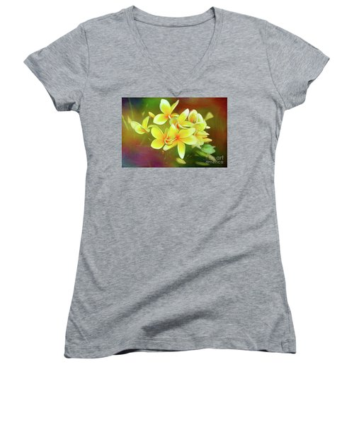 Women's V-Neck T-Shirt featuring the photograph Tropical Plumeria Art By Kaye Menner by Kaye Menner