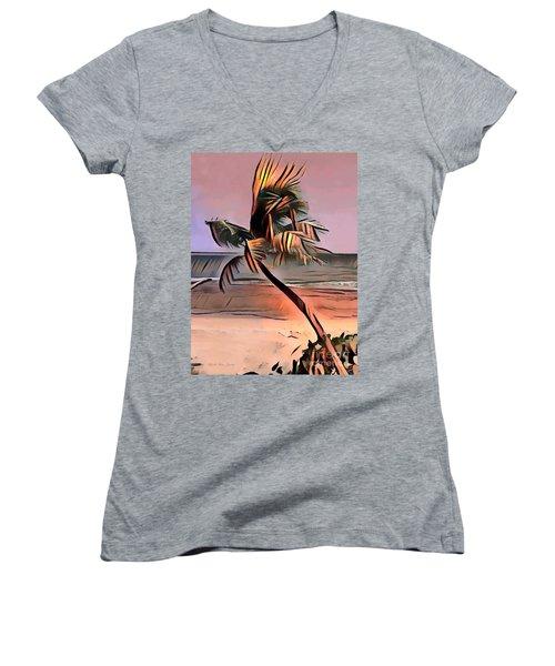 Tropical Seascape Digital Art E7717l Women's V-Neck (Athletic Fit)