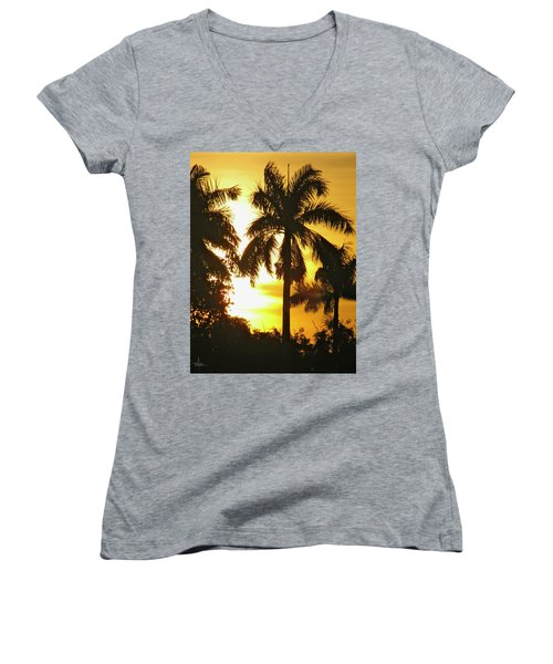 Tropical Sunset Palm Women's V-Neck (Athletic Fit)
