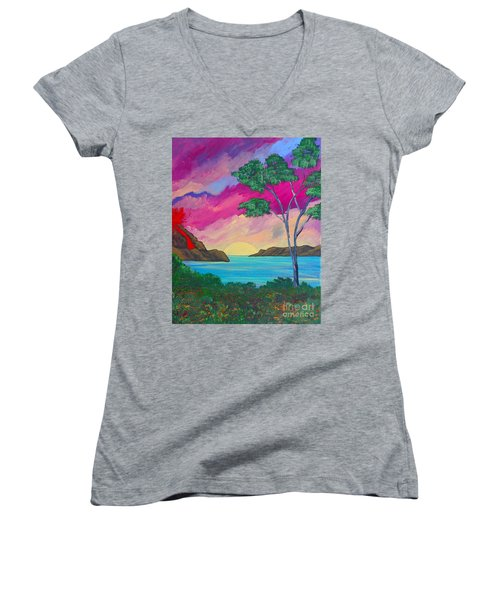 Tropical Volcano Women's V-Neck (Athletic Fit)