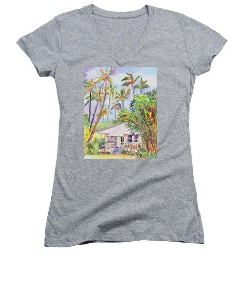 Tropical Waimea Cottage Women's V-Neck